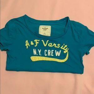 A & F blue t-shirt.